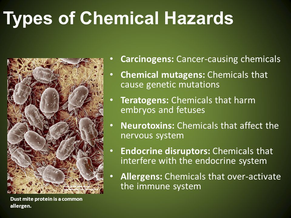 Types of Chemical Hazards Carcinogens: Cancer-causing chemicals Chemical mutagens: Chemicals that cause genetic mutations Teratogens: Chemicals that h