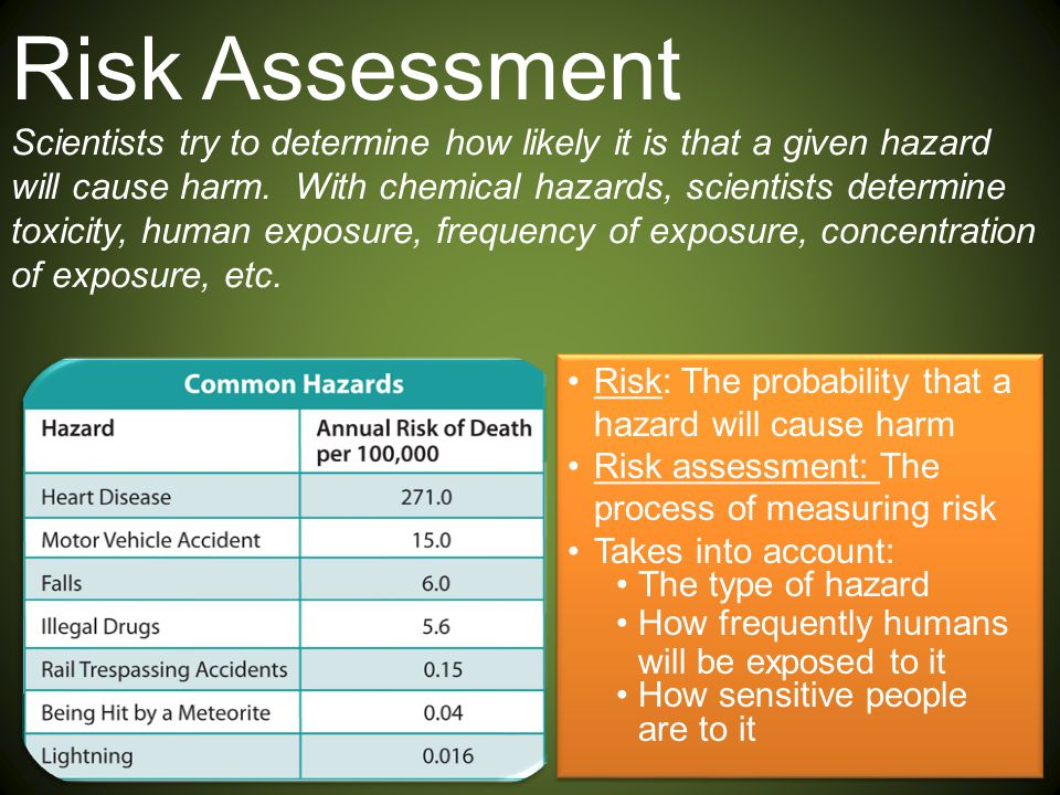 Risk Assessment Scientists try to determine how likely it is that a given hazard will cause harm. With chemical hazards, scientists determine toxicity