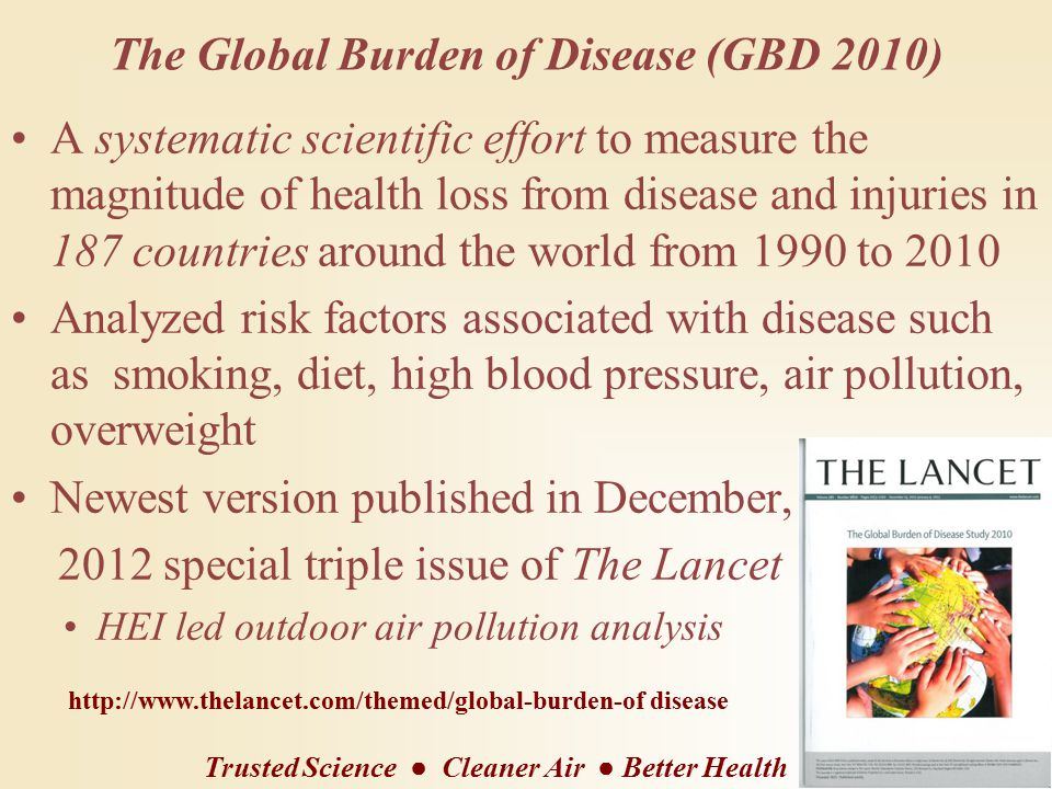 The Global Burden of Disease (GBD 2010) A systematic scientific effort to measure the magnitude of health loss from disease and injuries in 187 countries around the world from 1990 to 2010 Analyzed risk factors associated with disease such as smoking, diet, high blood pressure, air pollution, overweight Newest version published in December, 2012 special triple issue of The Lancet HEI led outdoor air pollution analysis http://www.thelancet.com/themed/global-burden-of disease Trusted Science ● Cleaner Air ● Better Health