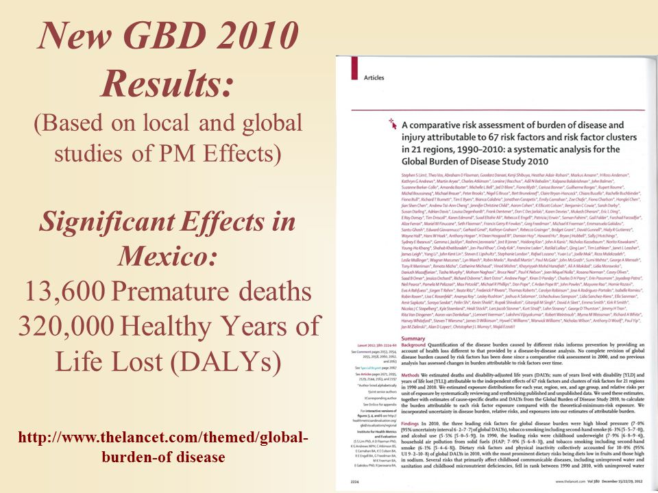 New GBD 2010 Results: (Based on local and global studies of PM Effects) Significant Effects in Mexico: 13,600 Premature deaths 320,000 Healthy Years of Life Lost (DALYs) http://www.thelancet.com/themed/global- burden-of disease