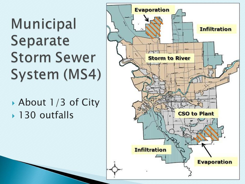  About 1/3 of City  130 outfalls