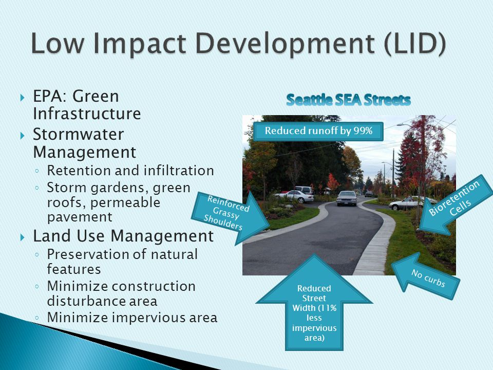  EPA: Green Infrastructure  Stormwater Management ◦ Retention and infiltration ◦ Storm gardens, green roofs, permeable pavement  Land Use Management ◦ Preservation of natural features ◦ Minimize construction disturbance area ◦ Minimize impervious area No curbs Reduced Street Width (11% less impervious area) Reinforced Grassy Shoulders Bioretention Cells Reduced runoff by 99%