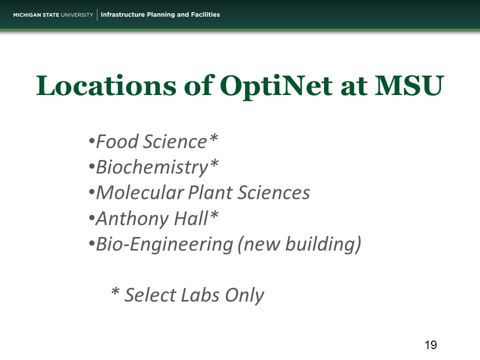 Food Science* Biochemistry* Molecular Plant Sciences Anthony Hall* Bio-Engineering (new building) * Select Labs Only Locations of OptiNet at MSU 19