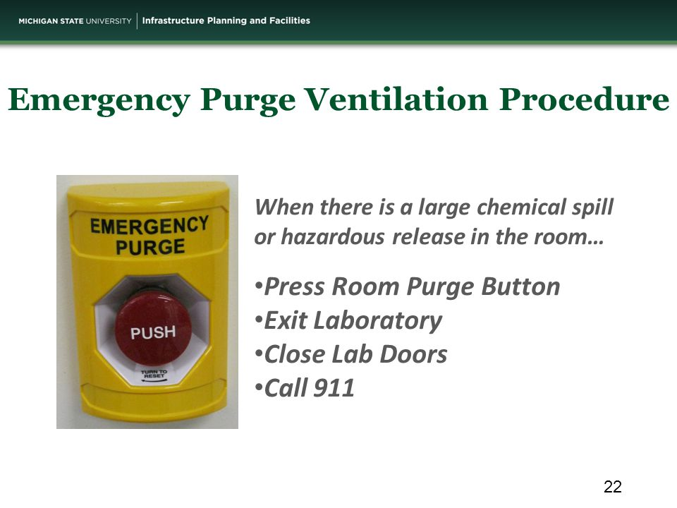 When there is a large chemical spill or hazardous release in the room… Press Room Purge Button Exit Laboratory Close Lab Doors Call 911 Emergency Purge Ventilation Procedure 22