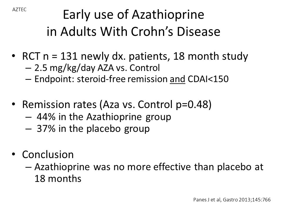Early use of Azathioprine in Adults With Crohn's Disease RCT n = 131 newly dx.