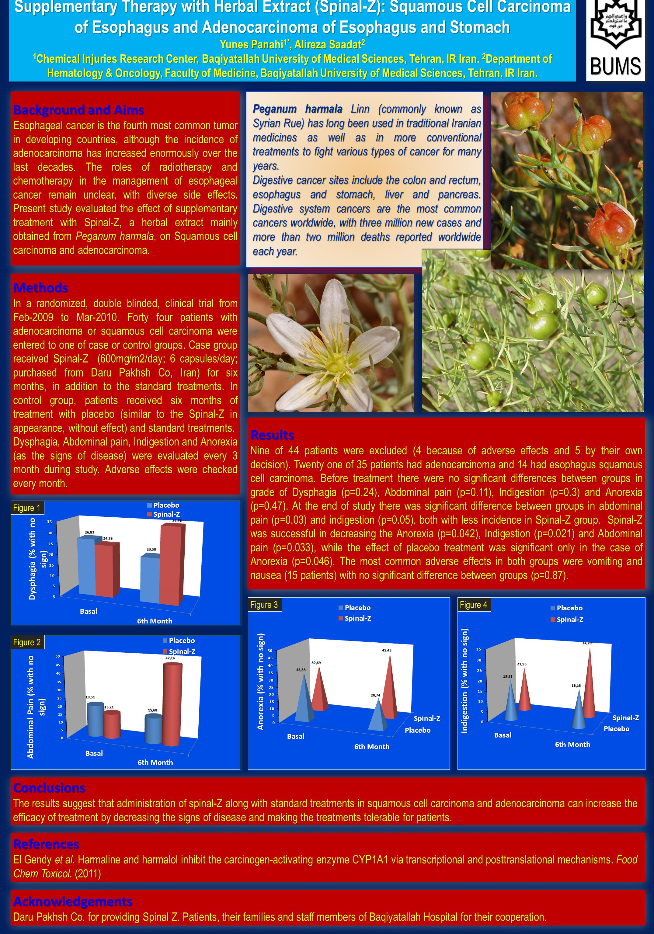 Supplementary Therapy with Herbal Extract (Spinal-Z): Squamous Cell Carcinoma of Esophagus and Adenocarcinoma of Esophagus and Stomach Yunes Panahi 1*