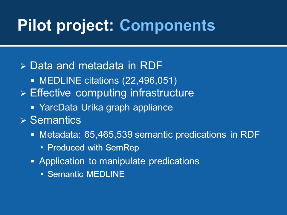  Data and metadata in RDF  MEDLINE citations (22,496,051)  Effective computing infrastructure  YarcData Urika graph appliance  Semantics  Metadata: 65,465,539 semantic predications in RDF Produced with SemRep  Application to manipulate predications Semantic MEDLINE