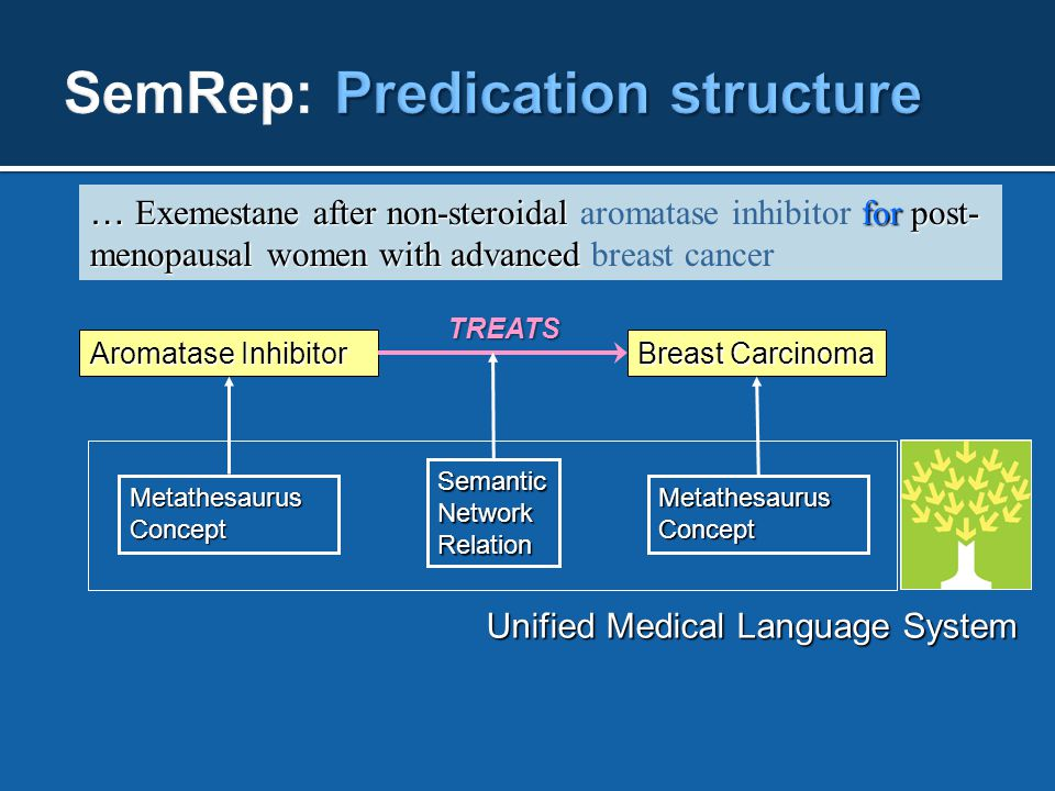 … Exemestane after non-steroidal for post- menopausal women with advanced … Exemestane after non-steroidal aromatase inhibitor for post- menopausal women with advanced breast cancer Aromatase Inhibitor Breast Carcinoma TREATS Semantic Network Relation MetathesaurusConceptMetathesaurusConcept Unified Medical Language System