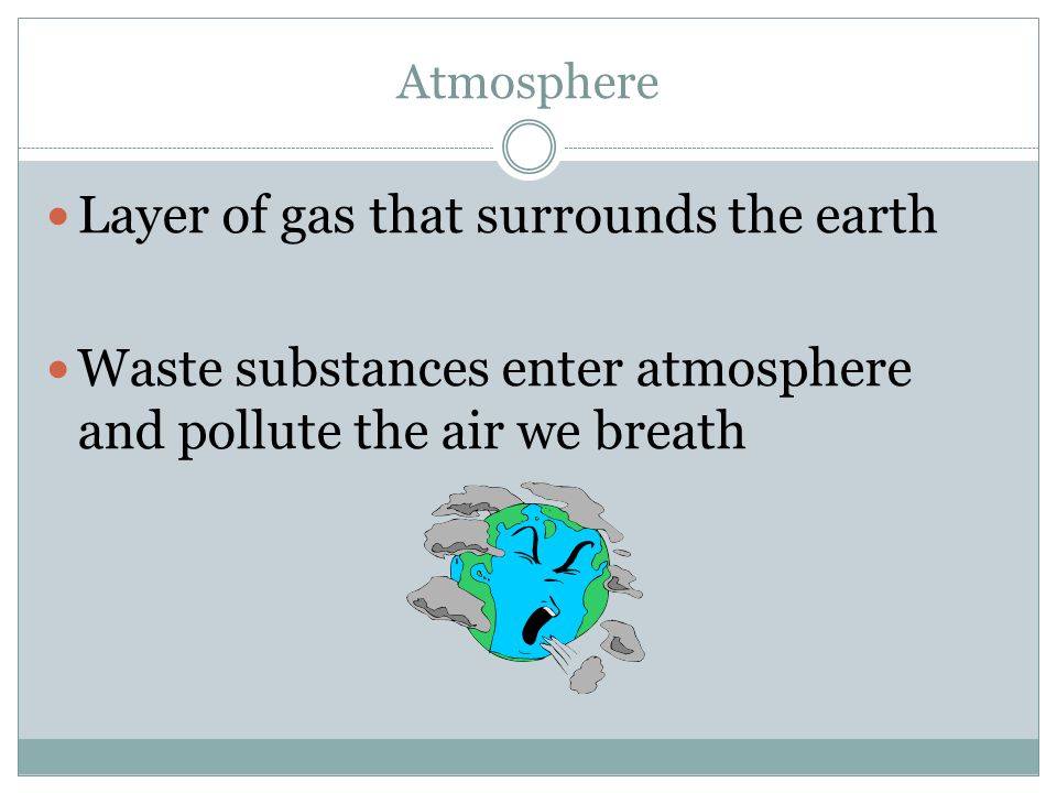 Atmosphere Layer of gas that surrounds the earth Waste substances enter atmosphere and pollute the air we breath