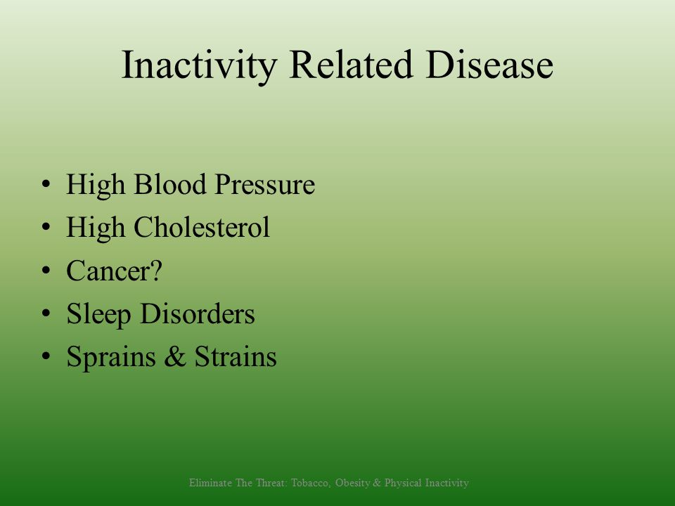 Inactivity Related Disease High Blood Pressure High Cholesterol Cancer.