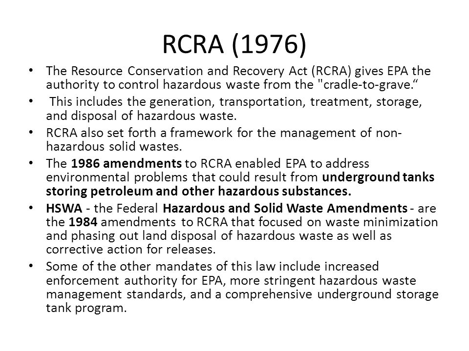 Clean Water Act (1972, 1977) The Clean Water Act (CWA) establishes the basic structure for regulating discharges of pollutants into the waters of the United States and regulating quality standards for surface waters.