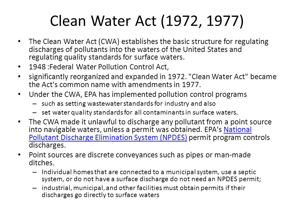 Safe Drinking Water Act (1974) The Safe Drinking Water Act (SDWA) was established to protect the quality of drinking water in the U.S.