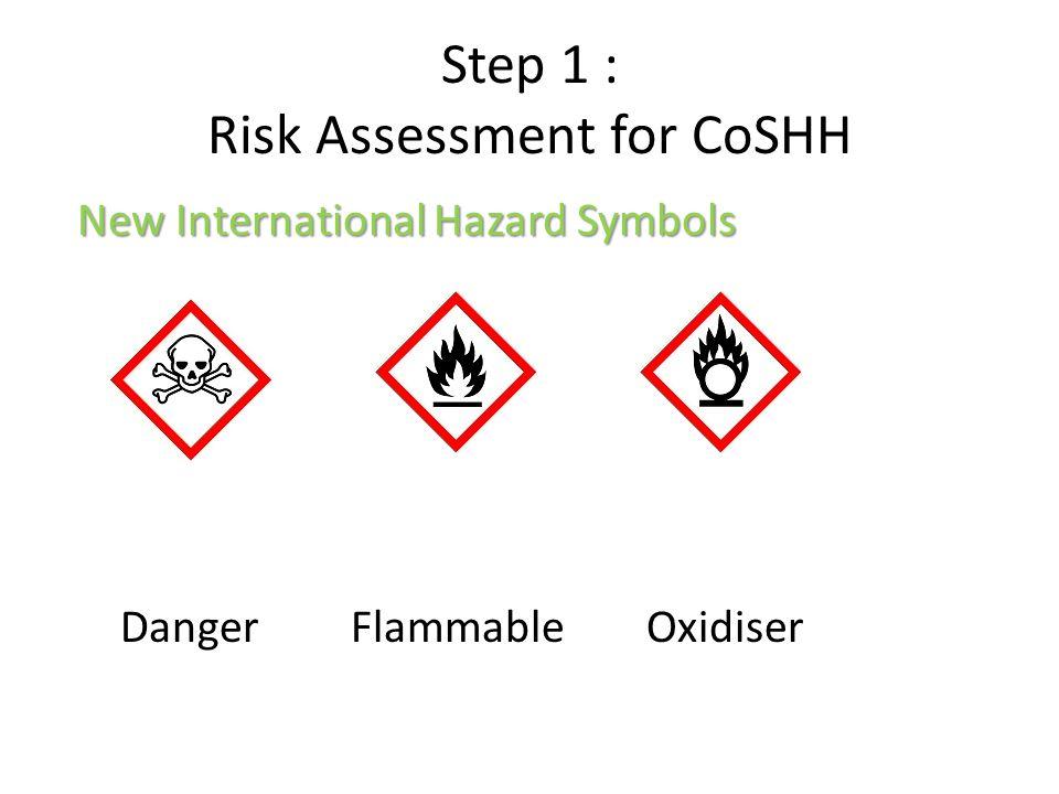 Step 1 : Risk Assessment for CoSHH New International Hazard Symbols Danger Flammable Oxidiser