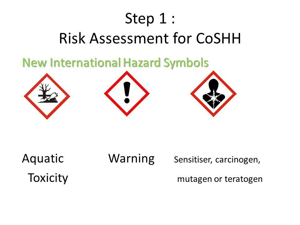 Step 1 : Risk Assessment for CoSHH New International Hazard Symbols Aquatic Warning Sensitiser, carcinogen, Toxicity mutagen or teratogen