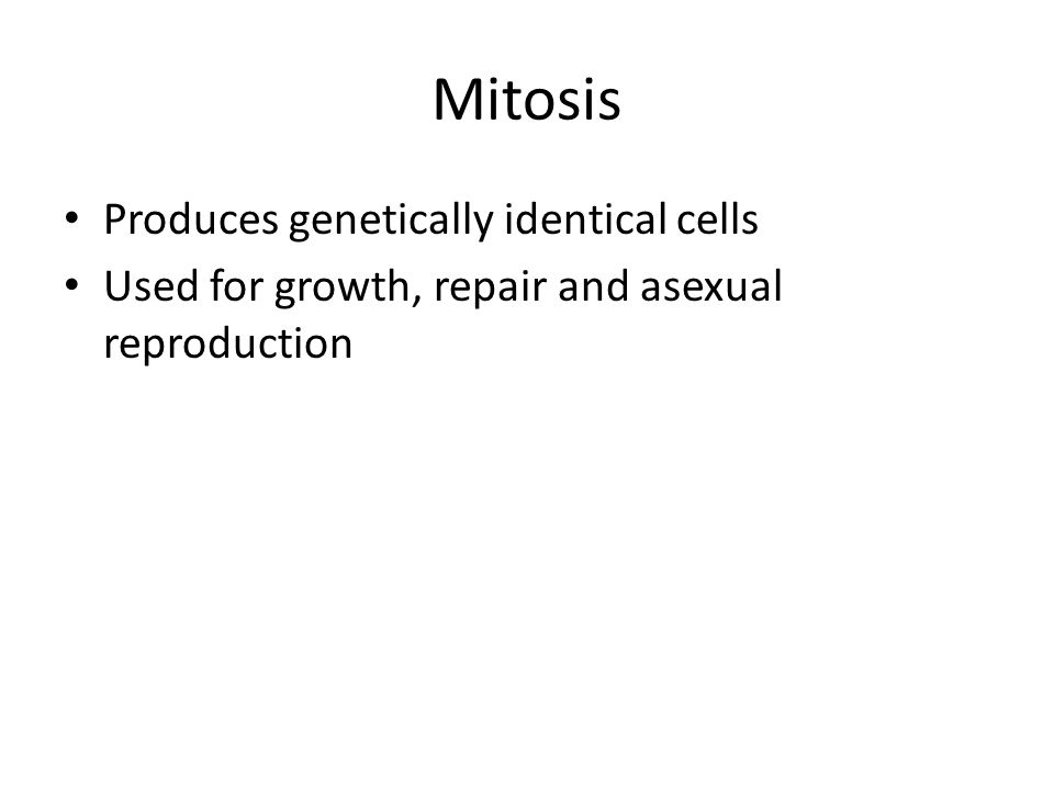 Mitosis Produces genetically identical cells Used for growth, repair and asexual reproduction