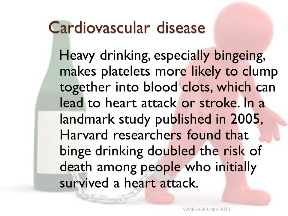 Cardiovascular disease Heavy drinking, especially bingeing, makes platelets more likely to clump together into blood clots, which can lead to heart attack or stroke.