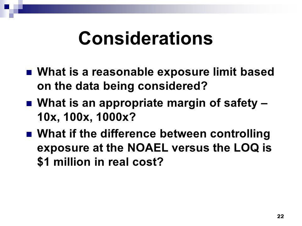 What is a reasonable exposure limit based on the data being considered.
