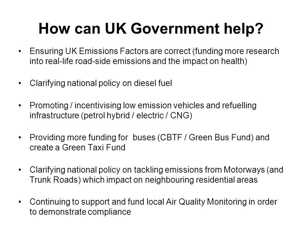 How can UK Government help.