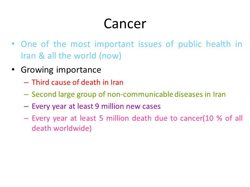 مرگ ومیر از سرطان در ایران آمار وزارت بهداشت 1375: – 185576 مورد مرگ در سراسر کشور ثبت و گزارش شده است.