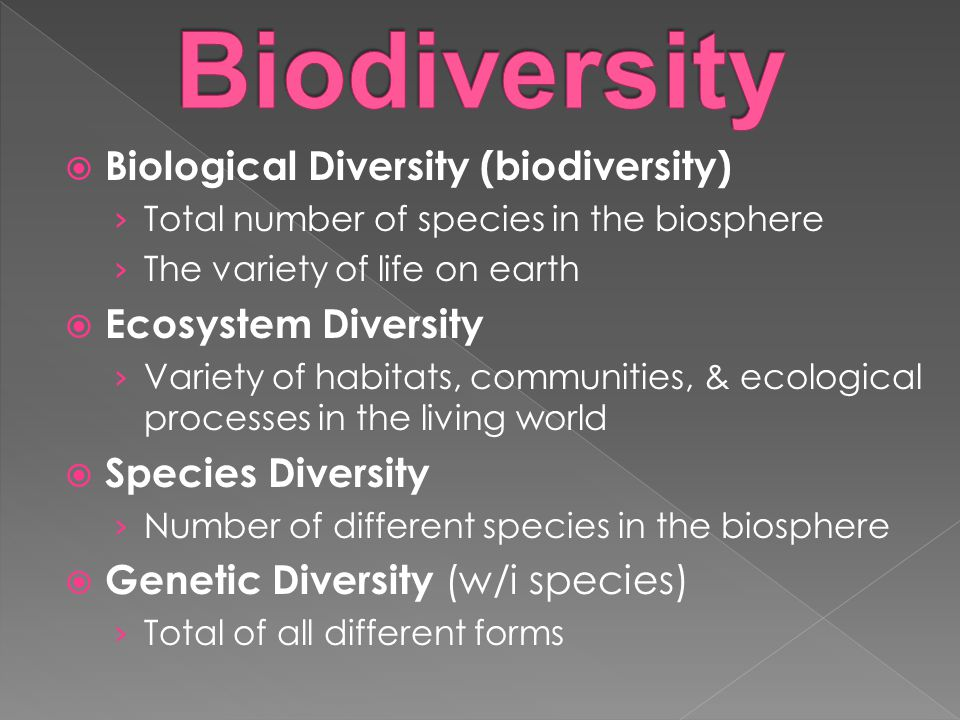  Biological Diversity (biodiversity) › Total number of species in the biosphere › The variety of life on earth  Ecosystem Diversity › Variety of habitats, communities, & ecological processes in the living world  Species Diversity › Number of different species in the biosphere  Genetic Diversity (w/i species) › Total of all different forms