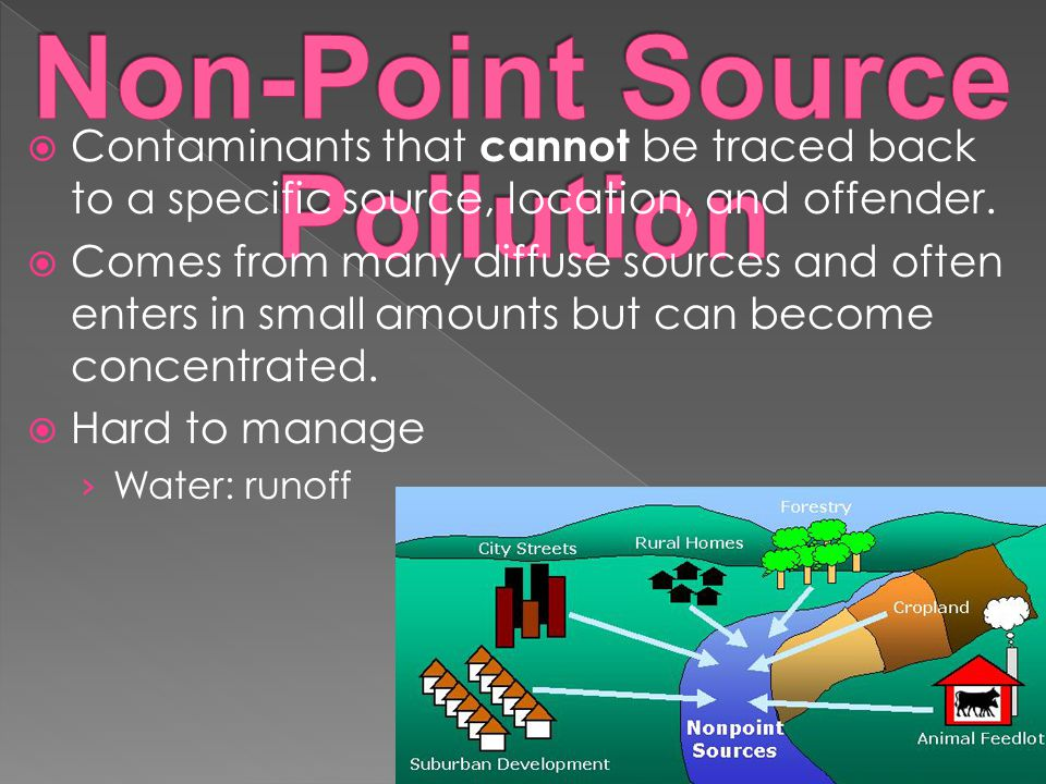  Contaminants that cannot be traced back to a specific source, location, and offender.