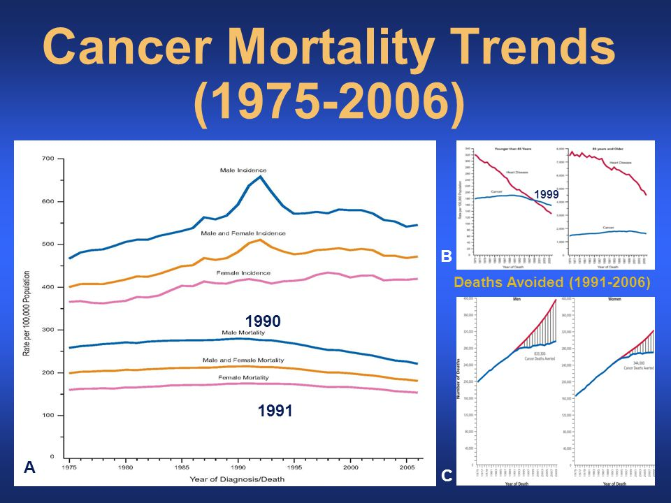 Cancer Mortality Trends (1975-2006) Deaths Avoided (1991-2006) 1990 1991 1999 A B C