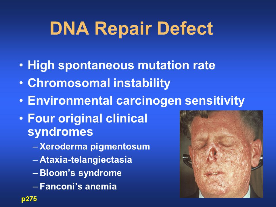 DNA Repair Defect High spontaneous mutation rate Chromosomal instability Environmental carcinogen sensitivity Four original clinical syndromes –Xeroderma pigmentosum –Ataxia-telangiectasia –Bloom's syndrome –Fanconi's anemia p275