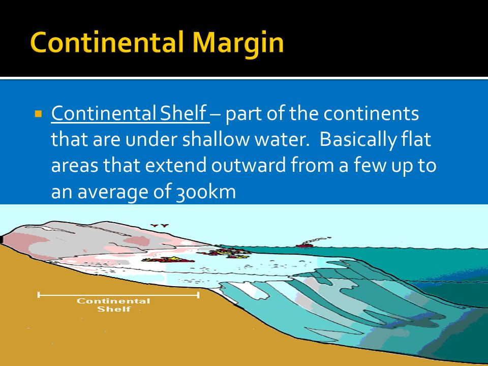  Continental Shelf – part of the continents that are under shallow water.