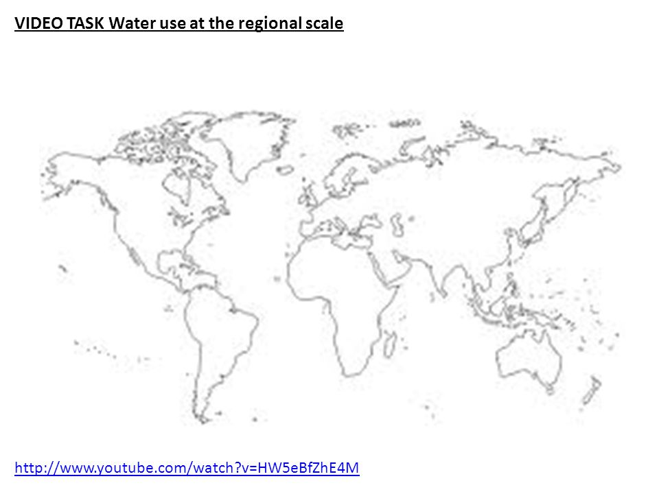 http://www.youtube.com/watch v=HW5eBfZhE4M VIDEO TASK Water use at the regional scale