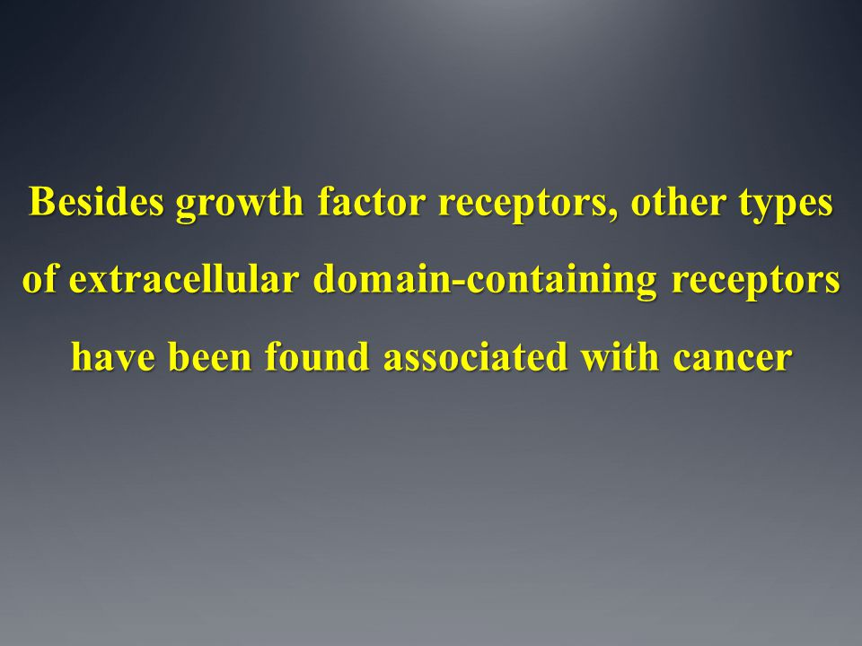 Besides growth factor receptors, other types of extracellular domain-containing receptors have been found associated with cancer