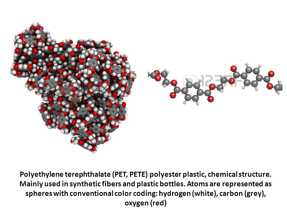 Polyethylene terephthalate (PET, PETE) polyester plastic, chemical structure.