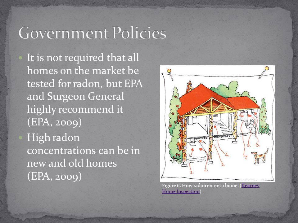 It is not required that all homes on the market be tested for radon, but EPA and Surgeon General highly recommend it (EPA, 2009) High radon concentrations can be in new and old homes (EPA, 2009) Figure 6.