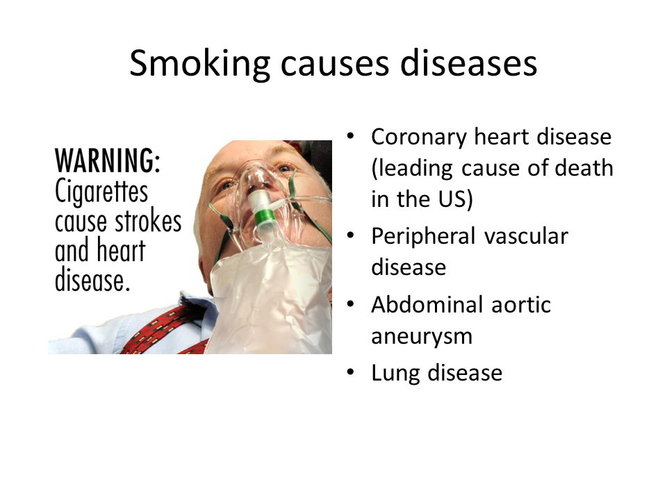 Smoking causes diseases Coronary heart disease (leading cause of death in the US) Peripheral vascular disease Abdominal aortic aneurysm Lung disease