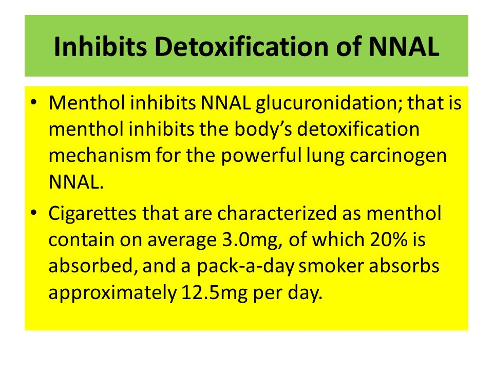 Inhibits Detoxification of NNAL Menthol inhibits NNAL glucuronidation; that is menthol inhibits the body's detoxification mechanism for the powerful lung carcinogen NNAL.