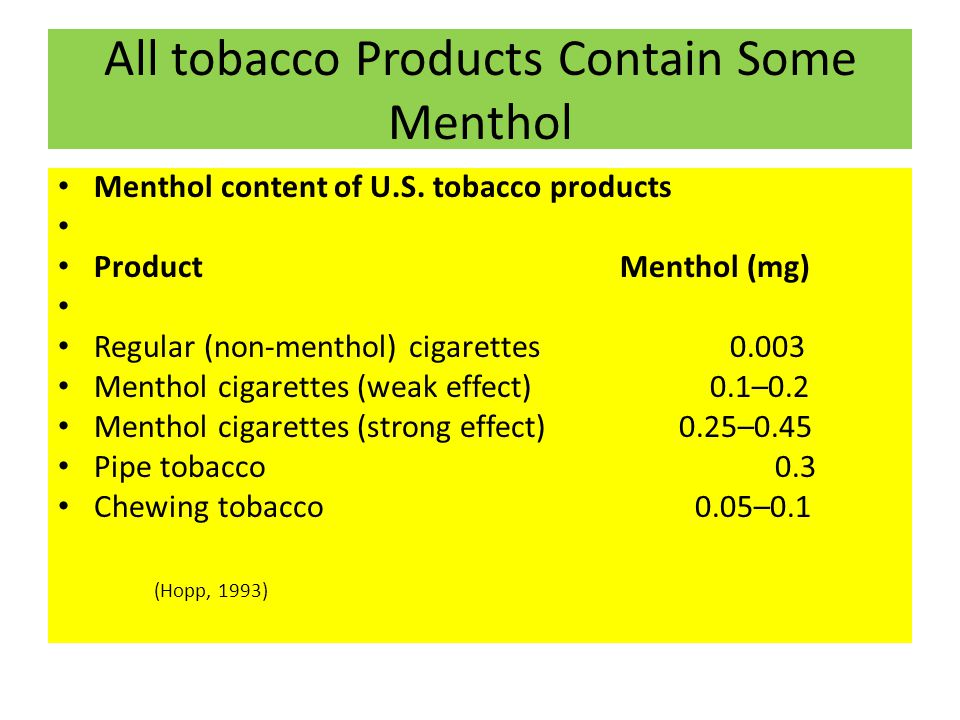 All tobacco Products Contain Some Menthol Menthol content of U.S.