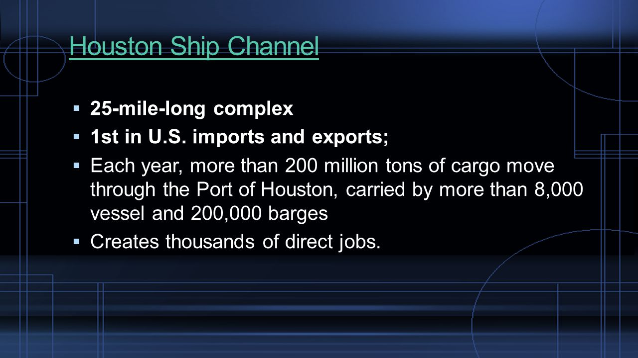 Houston Ship Channel  25-mile-long complex  1st in U.S.