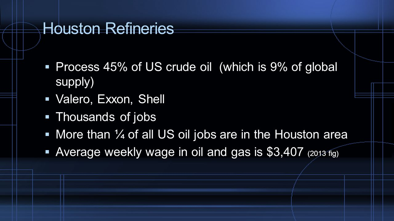 Houston Refineries  Process 45% of US crude oil (which is 9% of global supply)  Valero, Exxon, Shell  Thousands of jobs  More than ¼ of all US oil jobs are in the Houston area  Average weekly wage in oil and gas is $3,407 (2013 fig)