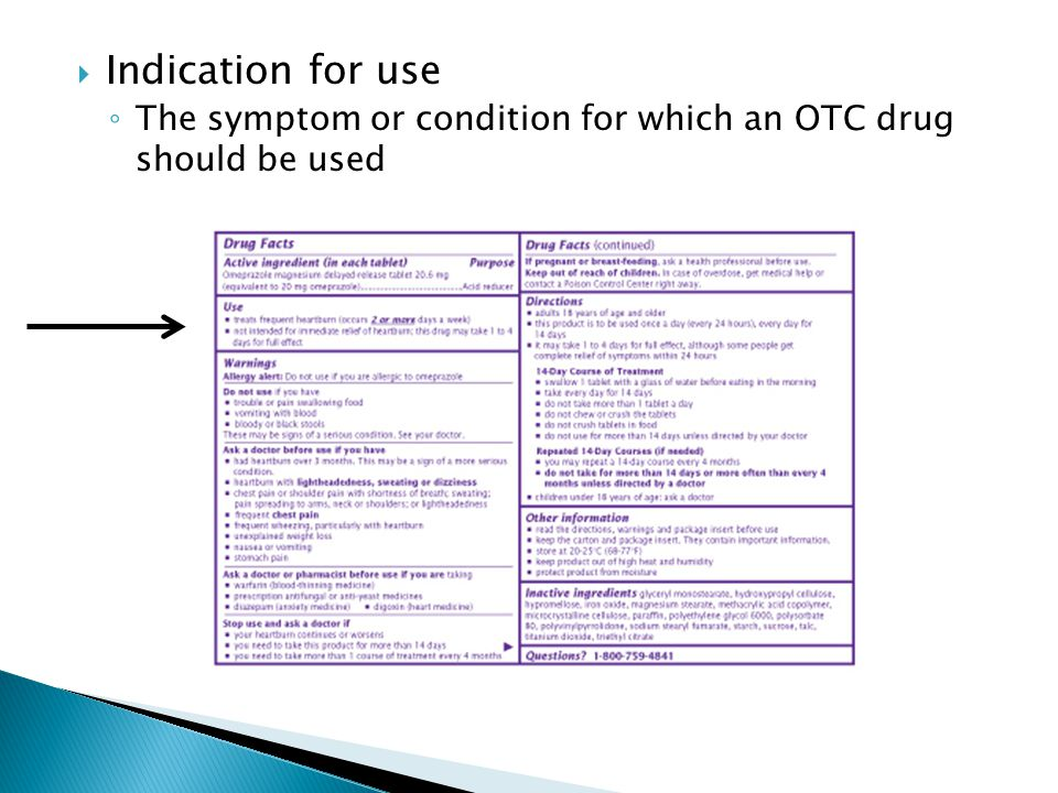  Indication for use ◦ The symptom or condition for which an OTC drug should be used