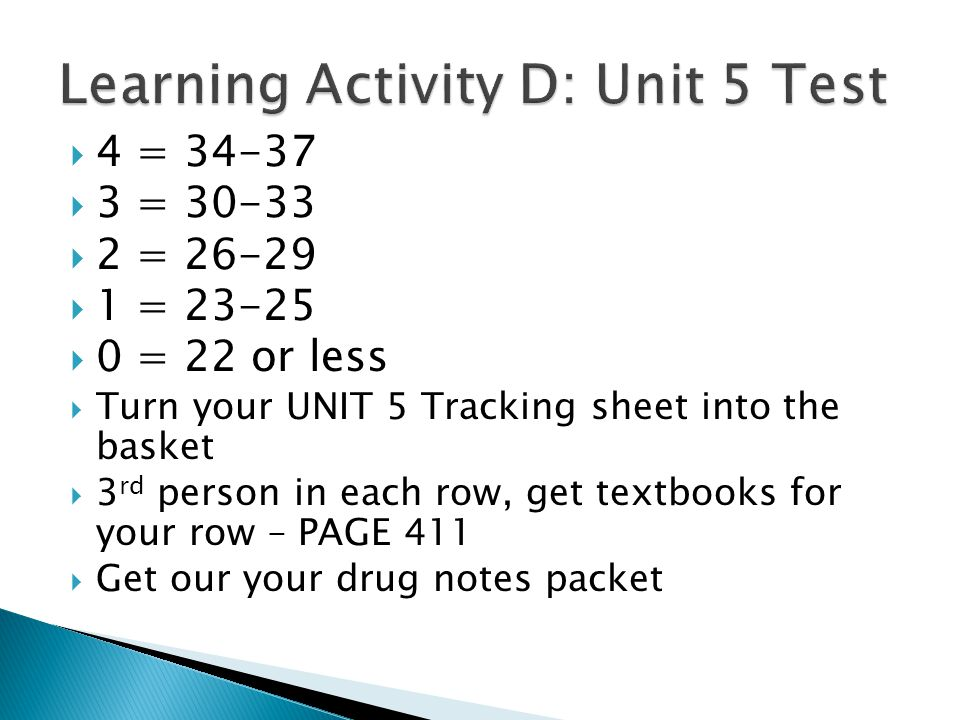  4 = 34-37  3 = 30-33  2 = 26-29  1 = 23-25  0 = 22 or less  Turn your UNIT 5 Tracking sheet into the basket  3 rd person in each row, get textbooks for your row – PAGE 411  Get our your drug notes packet