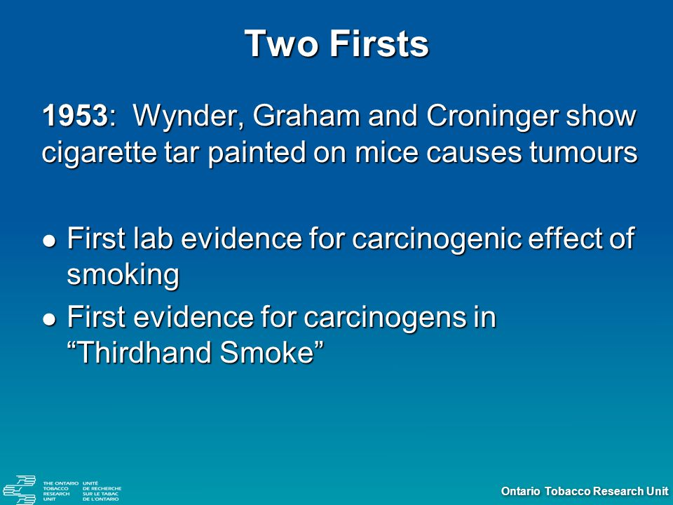 Ontario Tobacco Research Unit California Air Resources Board Report (2005) Updates 1997 Report Updates 1997 Report Confirms previous report findings Confirms previous report findings New Findings: New Findings: Paternal smoking causes childhood cancer Paternal smoking causes childhood cancer SHS is a cause of Breast Cancer in pre-menopausal women SHS is a cause of Breast Cancer in pre-menopausal women SHS may increase risk of Cervical Cancer, Bladder Cancer SHS may increase risk of Cervical Cancer, Bladder Cancer