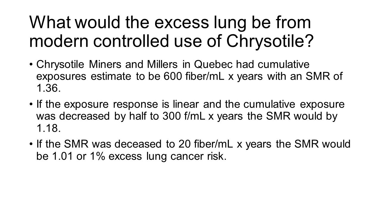 What would the excess lung be from modern controlled use of Chrysotile? Chrysotile Miners and Millers in Quebec had cumulative exposures estimate to b
