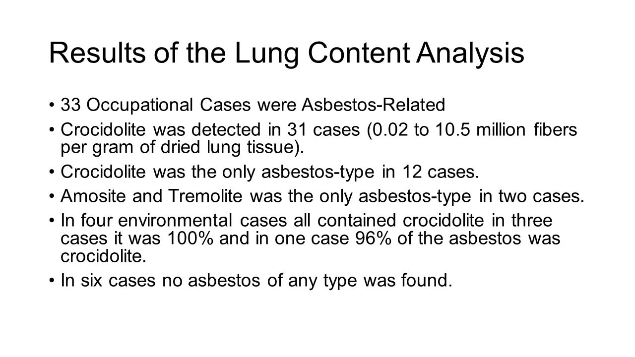 Scientific update on safe use of asbestos robert p nolan phd results of the lung content analysis 33 occupational cases were asbestos related crocidolite was detected 1betcityfo Images