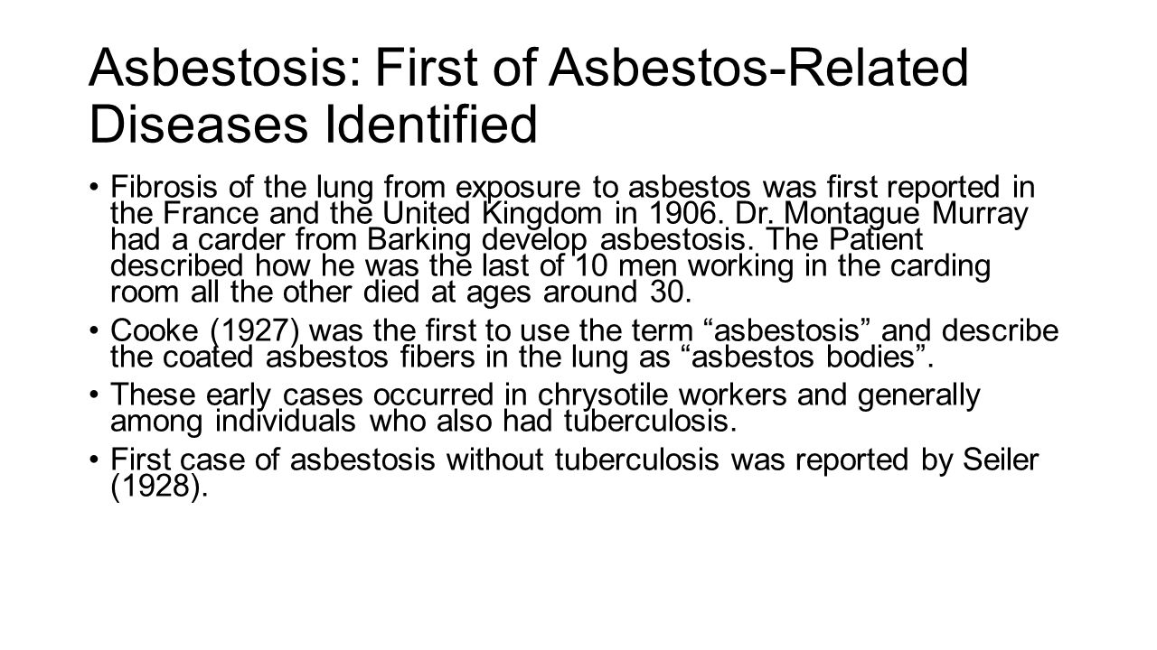 Scientific update on safe use of asbestos robert p nolan phd asbestosis first of asbestos related diseases identified fibrosis of the lung from exposure to 1betcityfo Images