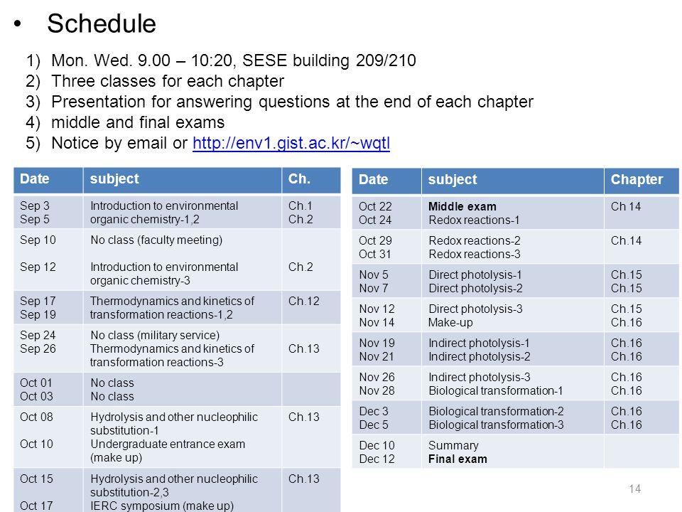 Schedule DatesubjectCh.