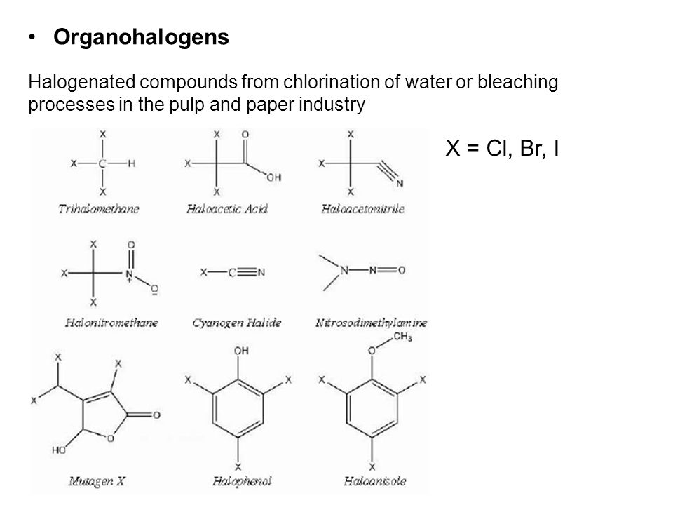 Organohalogens X = Cl, Br, I Halogenated compounds from chlorination of water or bleaching processes in the pulp and paper industry