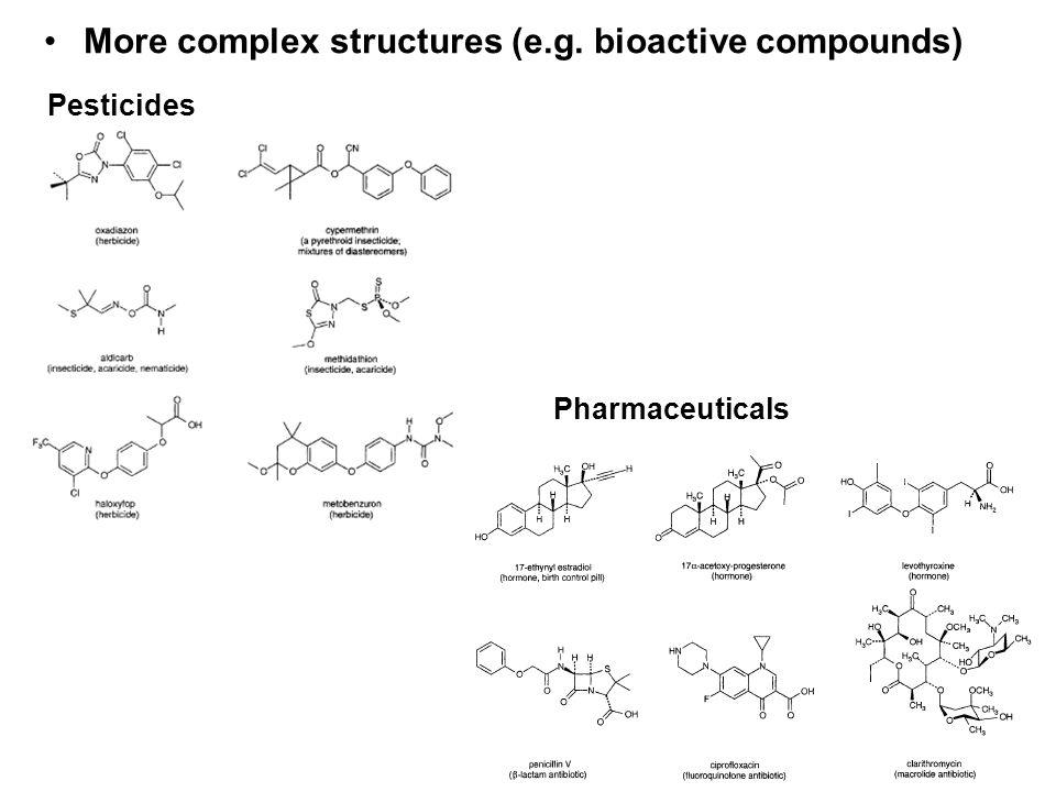 More complex structures (e.g. bioactive compounds) Pesticides Pharmaceuticals