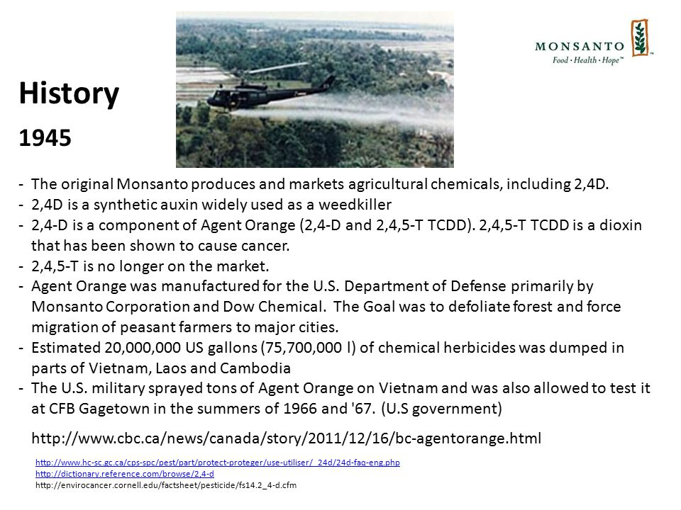 History 1945 -The original Monsanto produces and markets agricultural chemicals, including 2,4D.