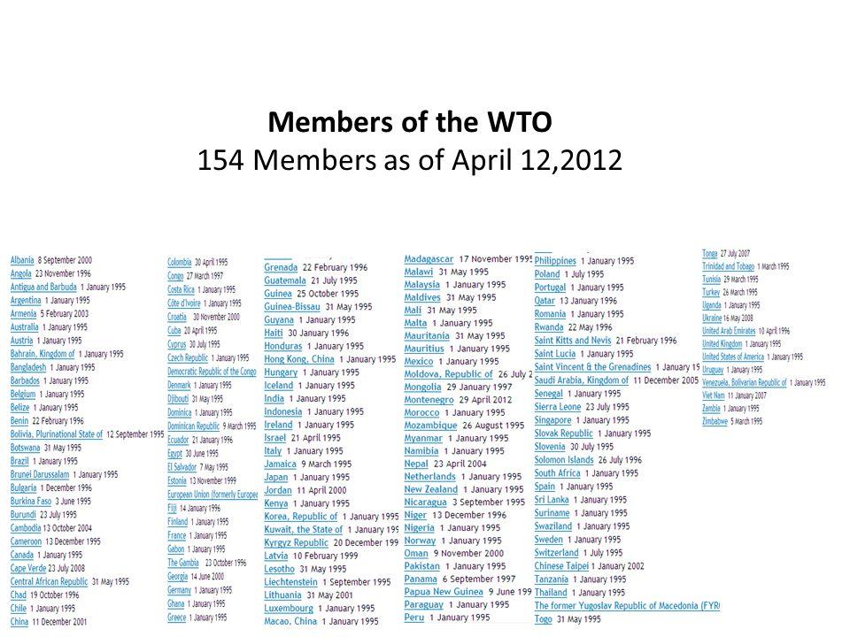 Members of the WTO 154 Members as of April 12,2012