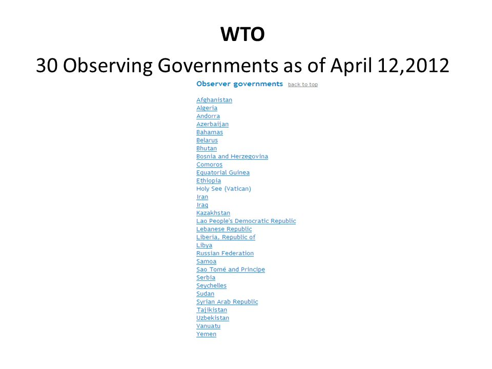 WTO 30 Observing Governments as of April 12,2012