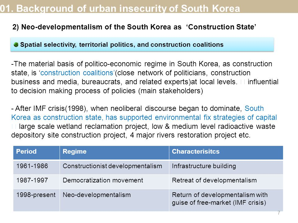 Spatial selectivity, territorial politics, and construction coalitions -The material basis of politico-economic regime in South Korea, as construction state, is 'construction coalitions'(close network of politicians, construction business and media, bureaucrats, and related experts)at local levels.